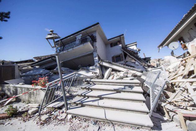 Il centro storico di Amatrice, già distrutto dal sisma del 24 agosto. Oggi qui sono avvenuti altri crolli