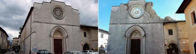 L'auditorium ed ex chiesa di San Francesco a Norcia prima e dopo la scossa