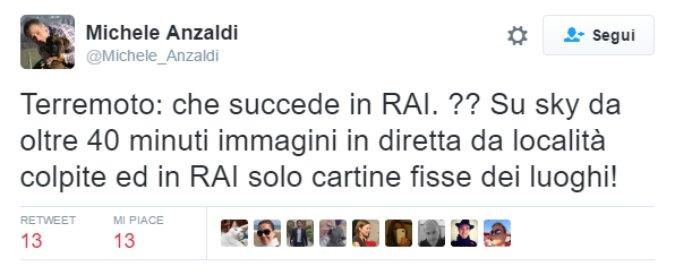 """Terremoto Centro Italia, Anzaldi contro viale Mazzini: """"Sky subito in diretta, in Rai solo cartine fisse"""""""