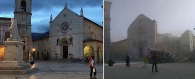 """Terremoto, Norcia: la basilica di San Benedetto crollata diventa il simbolo del sisma. """"Come se fosse venuta giù la città"""""""