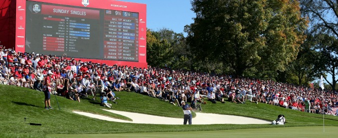 during the singles matches on day three of the 41st Ryder Cup at Hazeltine National Golf Club in Chaska, Minnesota, USA. PRESS ASSOCIATION Photo. Picture date: Sunday October 2, 2016. See PA story GOLF Ryder. Photo credit should read: Peter Byrne/PA Wire. RESTRICTIONS: Use subject to restrictions. Editorial use only. No commercial use. Call +44 (0)1158 447447 for further information.