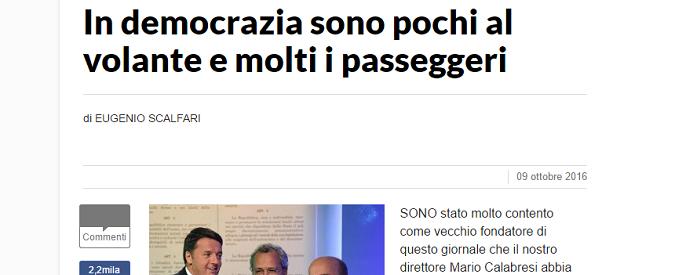 Eugenio Scalfari e il problema di difendere l'oligarchia