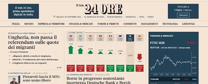Il Sole 24 Ore: c'è un nesso tra i debiti e la qualità del giornale