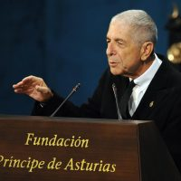 Canadian singer-songwriter Leonard Cohen delivers a speech during the 2011 Prince of Asturias awards ceremony at Campoamor theatre in Oviedo, northern Spain on October 21, 2011. REUTERS/Felix Ordonez/File Photo
