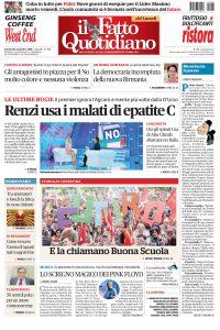 Copertina Il Fatto Quotidiano - Renzi usa i malati di epatite C
