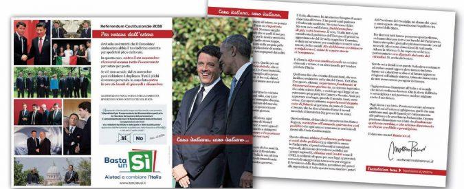 Renzi invia 4 milioni di lettere-spot agli italiani all'estero, ma a quelli del No negano gli indirizzi