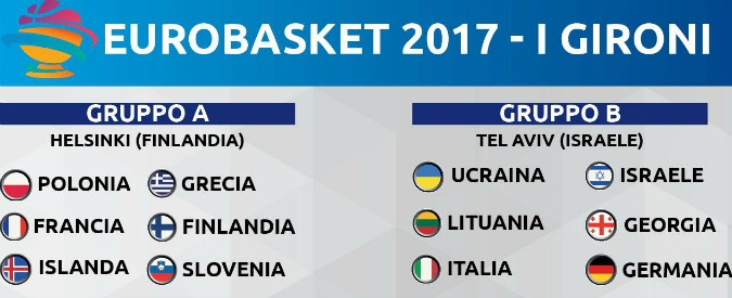 Europei di basket 2017: ecco le avversarie dell'Italia. L'esordio sarà il 31 agosto