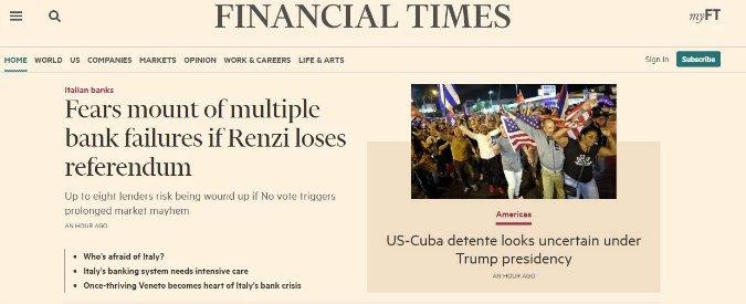 """Referendum, il Financial Times evoca l'apocalisse: """"Se vince il No, 8 banche a rischio fallimento"""""""