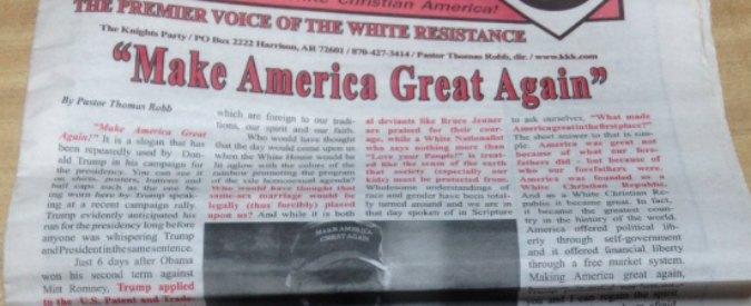 """Usa 2016, Ku Klux Klan appoggia Trump. Ma la sua campagna rifiuta endorsement: """"Noi siamo contro ogni forma d'odio"""""""