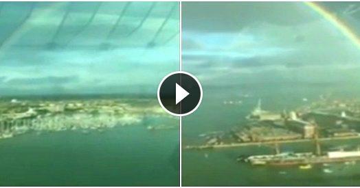 Raro arcobaleno a 360°, lo spettacolo dalla Emirates Spinnaker Tower in Gran Bretagna