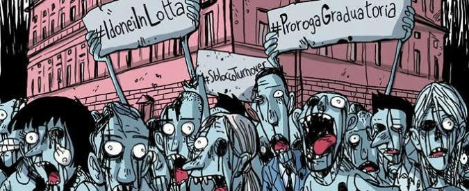 Concorsi pubblici, Zerocalcare disegna la locandina per la manifestazione degli idonei in scadenza: #prorogagraduatoria