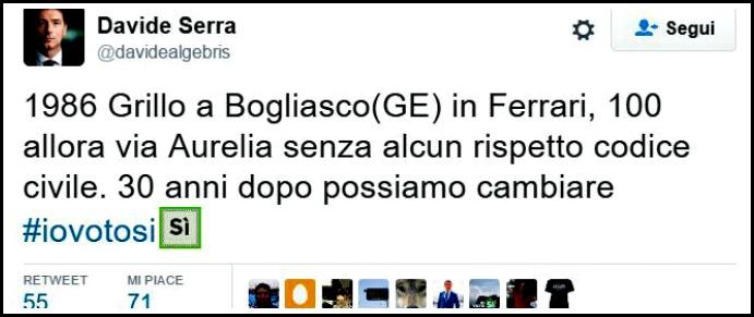 """Referendum, Serra promuove la riforma così: """"Trent'anni fa Grillo andava a 100 all'ora in Ferrari, ora cambiare si può"""""""