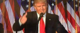 """Usa 2016, Trump: """"Dobbiamo essere grati a Hillary. Superiamo le divisioni. Nel mondo cercheremo alleanze, non conflitti"""""""