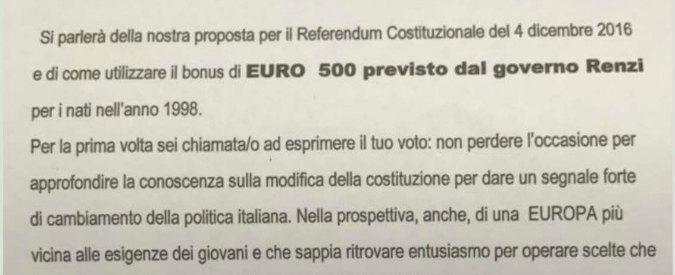 Referendum, comitato per il Sì invita i 18enni e per convincerli usa il bonus cultura del governo da 500 euro
