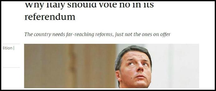 """Referendum, Economist: """"L'Italia dovrebbe votare no. Renzi ha sprecato 2 anni, si deve occupare di riforme vere"""""""