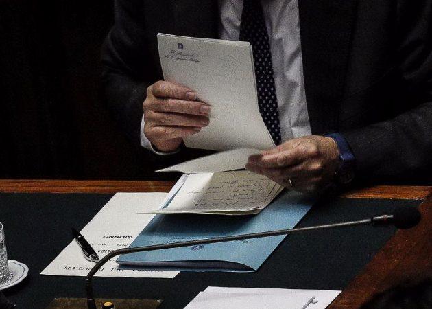 Gli appunti che il presidente del Consiglio ha utilizzato per seguire la traccia del discorso