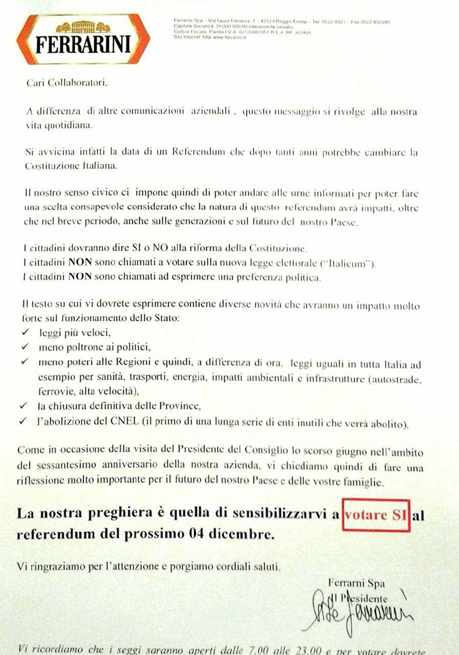 """Ferrarini, lettera ai dipendenti: """"Vi preghiamo, votate Sì"""""""
