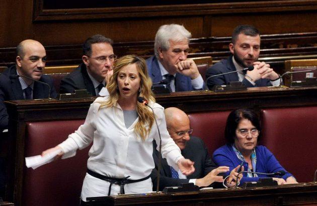 La presidente di Fratelli d'Italia durante la dichiarazione di voto