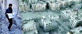 Siria, sotto le bombe di Aleppo. E un drone dell'esercito vola sulla città fantasma e sopra i civili in fuga