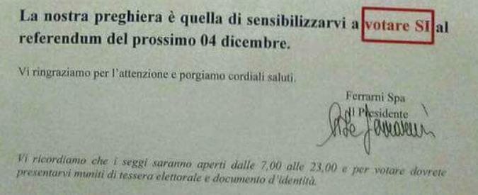 "Referendum, l'azienda dei salumi Ferrarini scrive ai dipendenti: ""Votate Sì"""