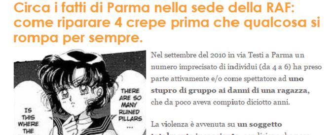 Stupro di gruppo nel centro antifascista di Parma, dopo sei anni un post (scritto da donne) squarcia il silenzio