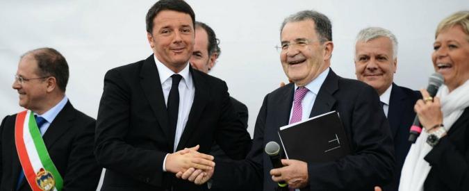 """Pd, Renzi ai giornali: """"Prodi? Aveva torto, con coalizioni non si vince"""". Il Professore: """"Se vuole, sposto la tenda più in là"""""""