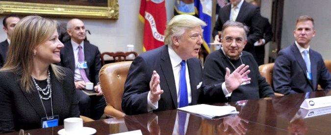 """Trump, l'offerta a Marchionne & Co: deregulation in cambio di posti di lavoro in Usa. """"Ambientalismo fuori controllo"""""""
