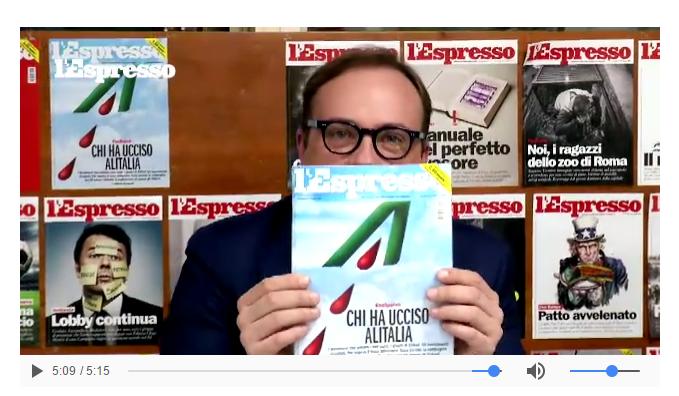 Alitalia, L'Espresso fa copertina sulla nuova crisi e la compagnia vieta di distribuirlo ai passeggeri dei suoi voli