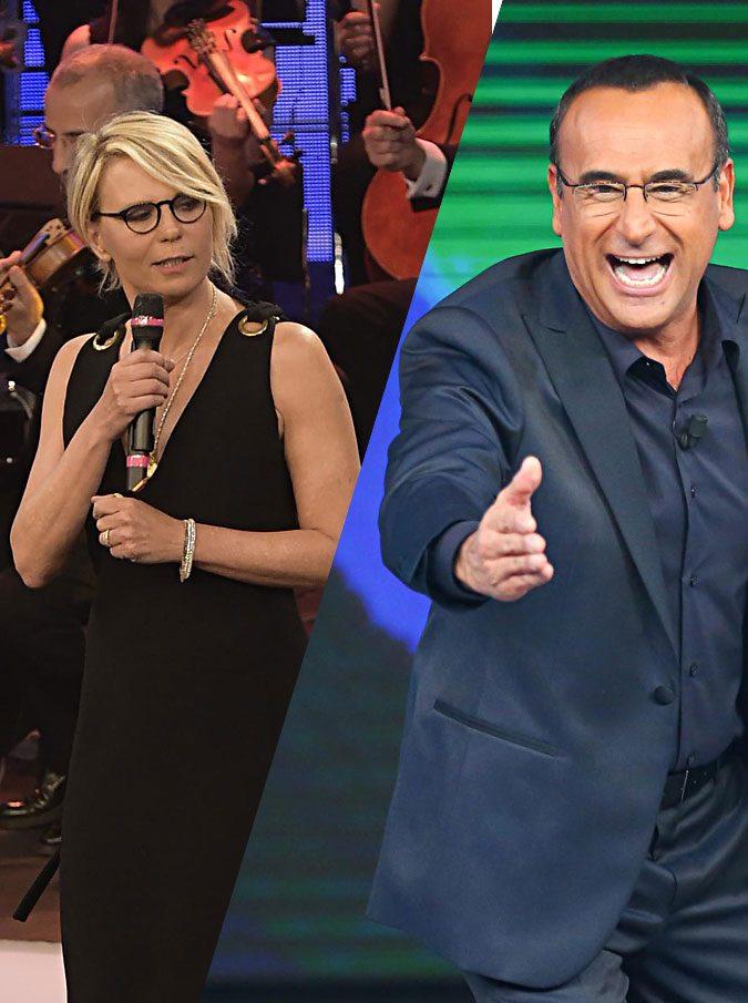"""Sanremo 2017, Carlo Conti (soddisfatto) e Maria De Filippi (spaesata) pronti alla conduzione: """"Lei partecipa al Festival a titolo gratuito"""""""