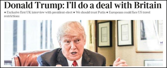 """Trump: """"Brexit è una gran cosa, altri Paesi usciranno da Ue. Nato obsoleta"""""""
