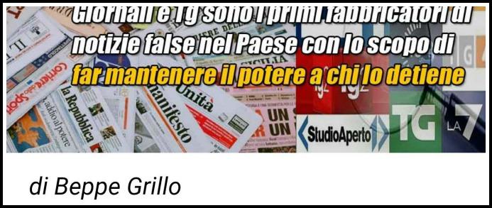 "Grillo: ""Giornali e tg fabbricatori di notizie false"". Mentana: ""Ne risponderà in tribunale"""