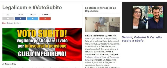"""Beppe Grillo a 24 ore dalla sentenza della Consulta: """"Andare al voto subito con il Legalicum"""""""