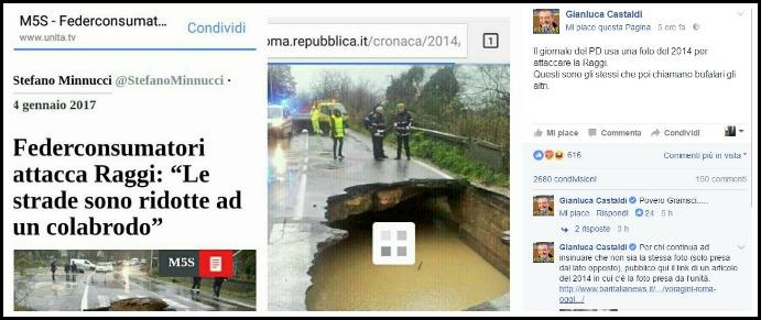 """Roma, L'Unità pubblica un articolo sulle buche ma la voragine è del 2014. M5s: """"Una foto falsa per attaccare Raggi"""""""