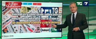 """Grillo attacca tg e giornali, Mentana risponde: """"Lo querelo. L'eventuale ricavato andrà alle popolazioni terremotate"""""""