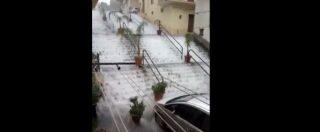 Maltempo Sicilia, nubifragio a Sciacca: strade come fiumi e un fulmine cade tra i palazzi
