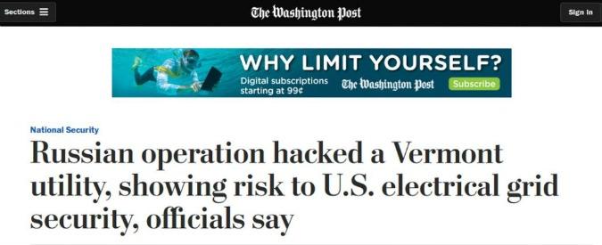 """Usa, Washington Post: """"Hacker russi attaccano la rete elettrica"""". Ma è una bufala: storia di una falsa notizia"""