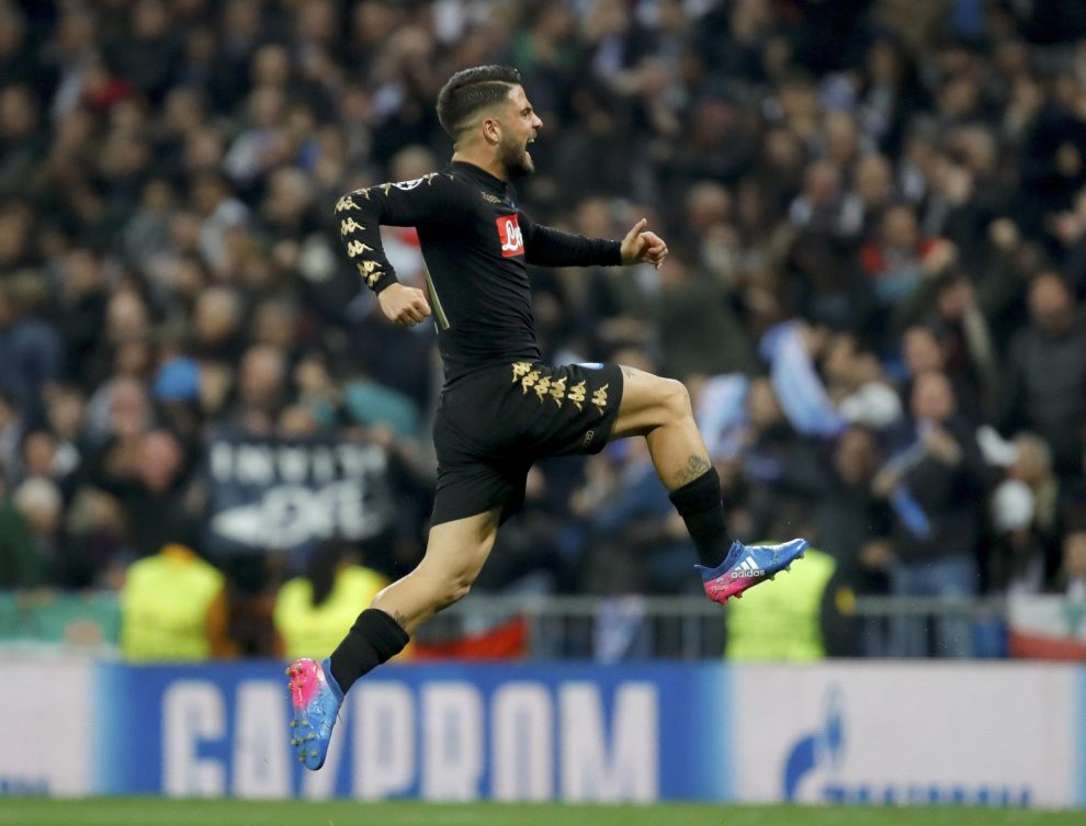 Napoli's striker Lorenzo Insigne jubilates a goal, the first against Real Madrid, during their UEFA Champions League round of 16 first leg match at Santiago Bernabeu stadium in Madrid, Spain, 15 February 2017. EFE/JuanJo Martin