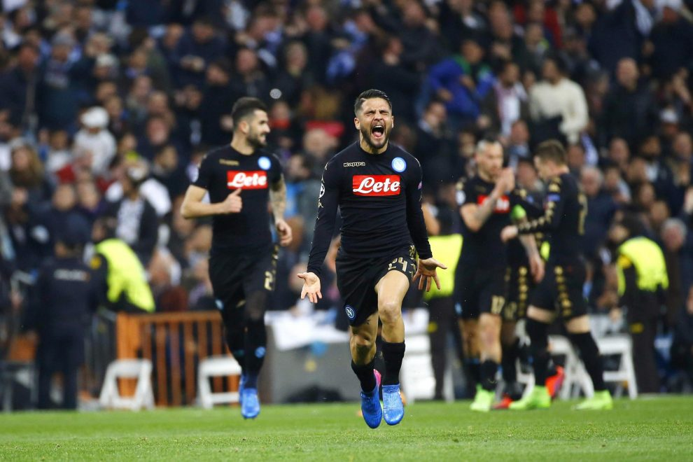 Napoli's striker Lorenzo Insigne jubilates a goal, the first against Real Madrid, during their UEFA Champions League round of 16 first leg match at Santiago Bernabeu stadium in Madrid, Spain, 15 February 2017. EFE/J.P. Gandul