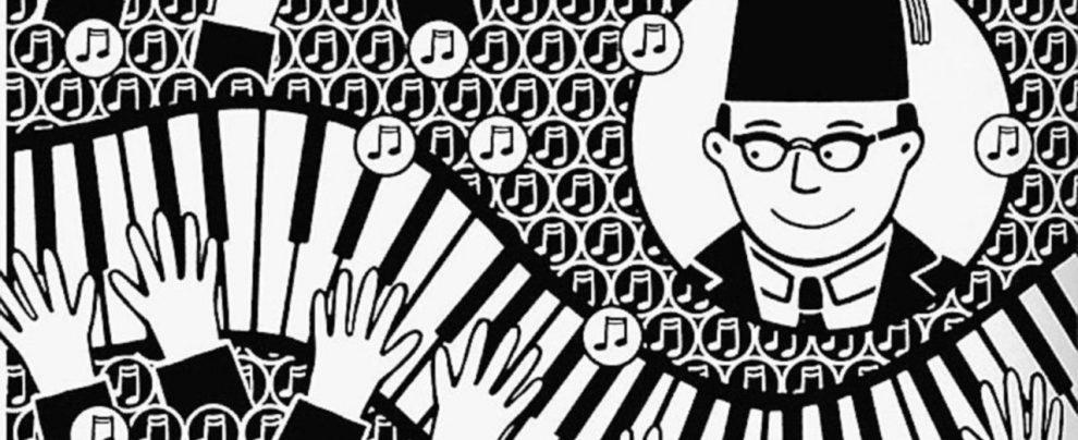Melodie orientali sulla tastiera in bianco e nero di un graphic novel tra due mondi