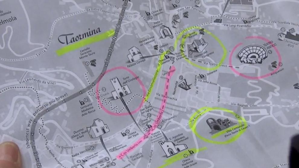 La mappa del centro storico di Taormina