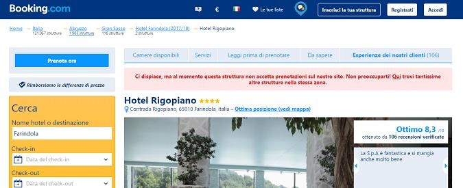 Hotel Rigopiano, sui siti di viaggi è 'temporaneamente chiuso'