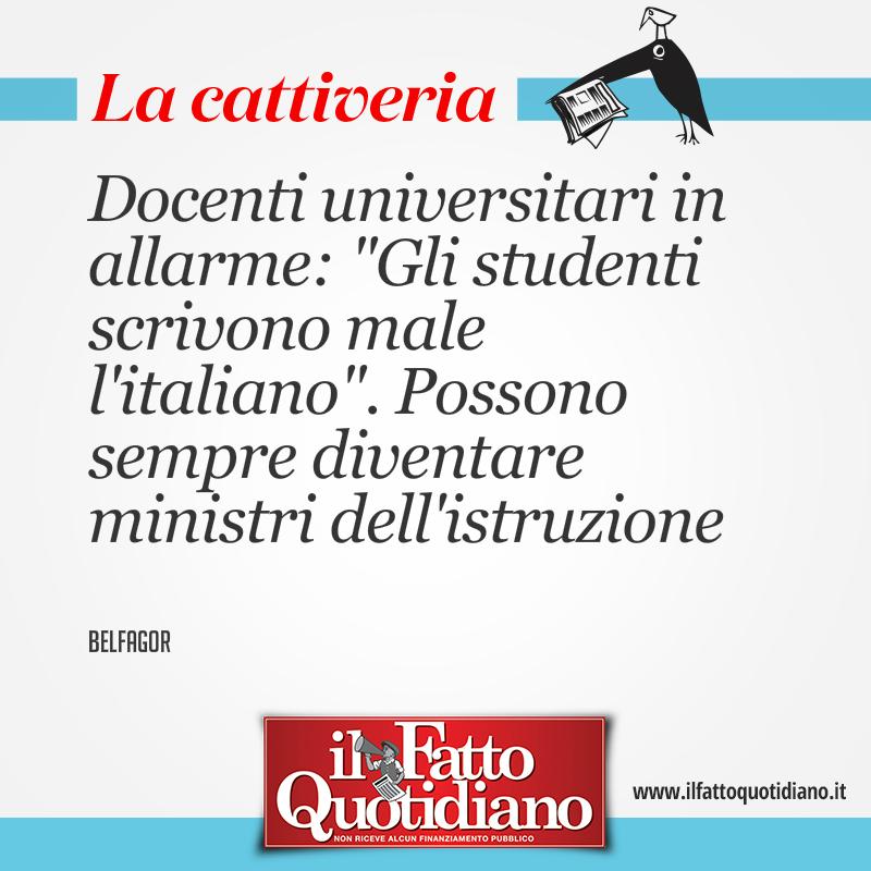 """Centinaia di docenti universitari in allarme: """"Gli studenti scrivono male l'italiano"""". Possono sempre diventare ministri dell'Istruzione"""