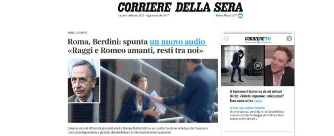 Raggi-Romeo, il Corriere della Sera sbaglia il titolo e pubblica una notizia vecchia: poi fa retromarcia