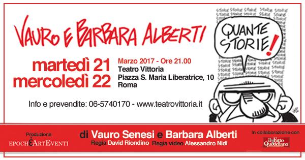Quante storie, lo spettacolo di Vauro e Barbara Alberti al Teatro Vittoria di Roma