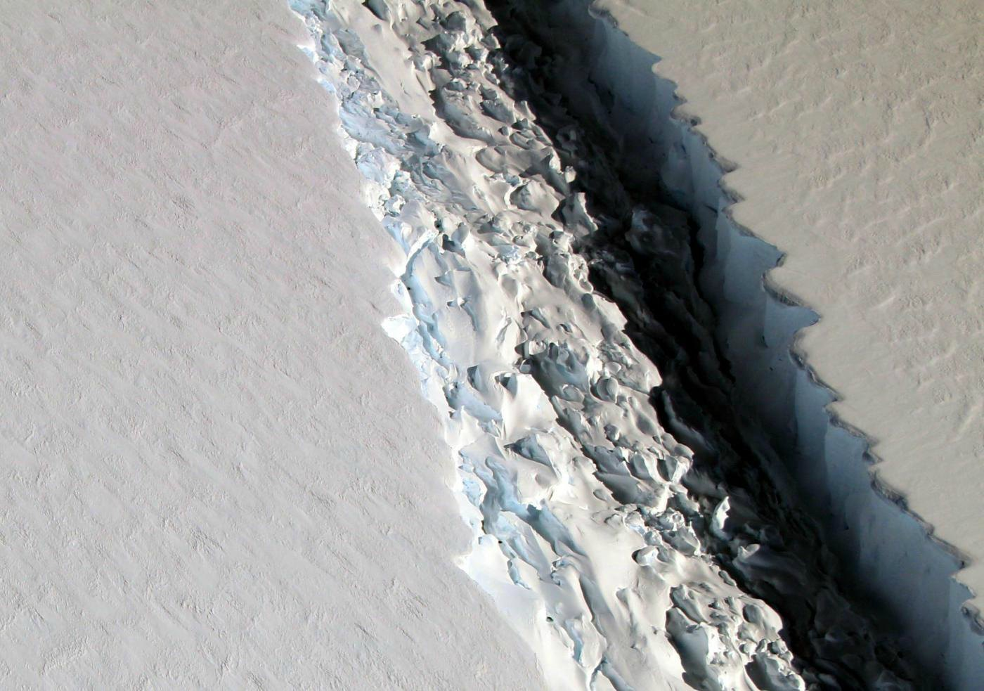 NASA handout photo dated 10/11/16 showing a rift in the Larsen C Ice Shelf in Antarctica, as scientists have said that an iceberg a quarter the size of Wales is poised to break off from it. PRESS ASSOCIATION Photo. Issue date: Friday January 6, 2017. See PA story ENVIRONMENT Ice. Photo credit should read: NASA/John Sonntag/PA Wire NOTE TO EDITORS: This handout photo may only be used in for editorial reporting purposes for the contemporaneous illustration of events, things or the people in the image or facts mentioned in the caption. Reuse of the picture may require further permission from the copyright holder.