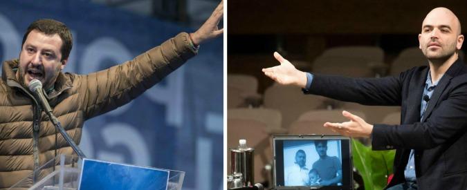 """Roberto Saviano contro Matteo Salvini – """"Irresponsabile"""" e il segretario della Lega: """"Il tuo disprezzo è una medaglia"""""""
