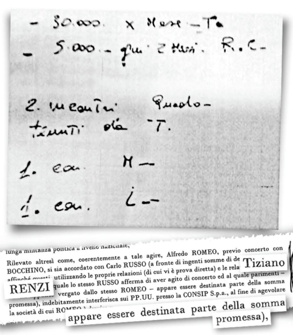 """""""Ecco il pizzino con i 30 mila al mese per Tiziano"""""""