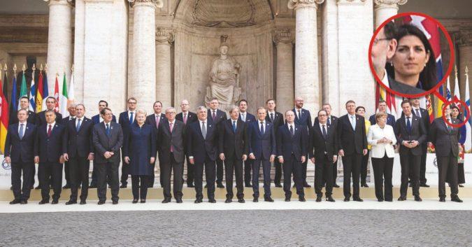 Trova l'intruso: la giornata europea di Raggi. Imbarazzi, saluti e una mezza censura