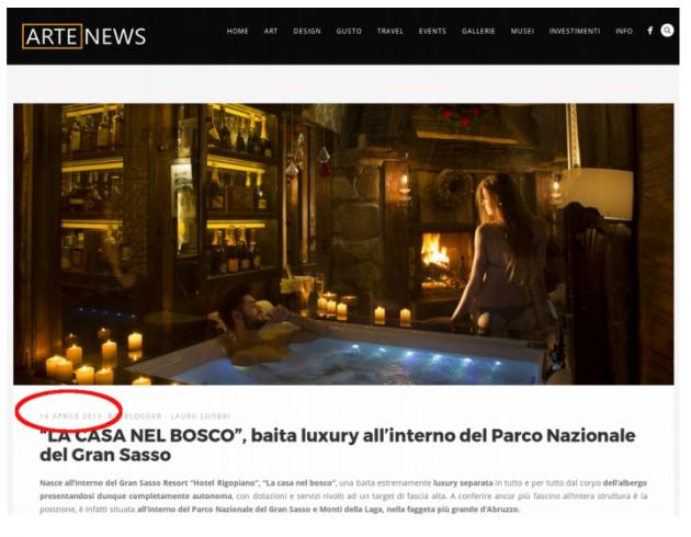 Alcuni siti WEB pubblicizzano la Casa nel Bosco con data 4 aprile 2015