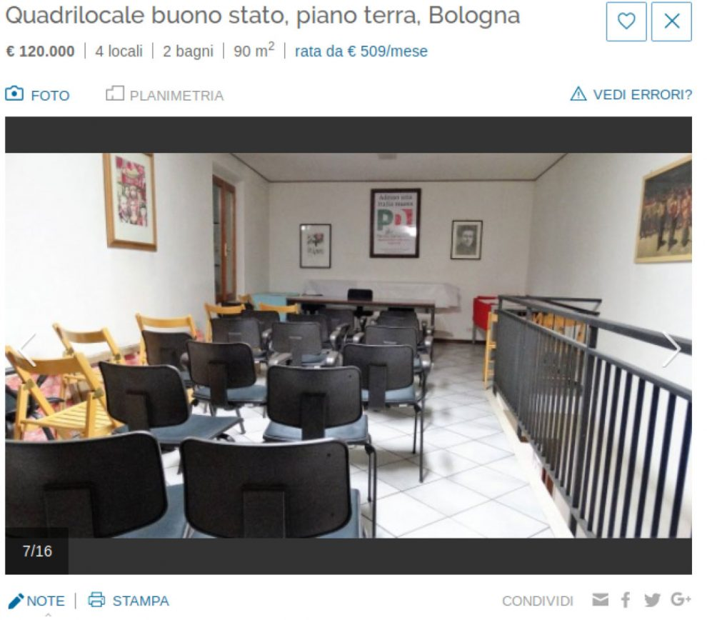 Bologna in vendita sede circolo pd e sul sito finiscono for Piano del sito di casa